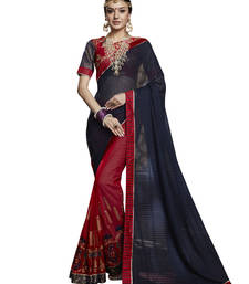 Buy Red embroidered georgette saree with blouse half-saree online
