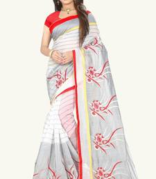 Buy White embroidered cotton saree with blouse cotton-saree online