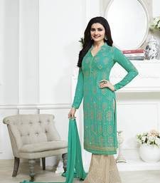 Buy Sea green embroidered georgette semi stitched salwar with dupatta palazzo online