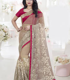 Buy Beige embroidered georgette saree with blouse net-saree online