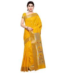 Buy Yellow woven art silk saree with blouse art-silk-saree online