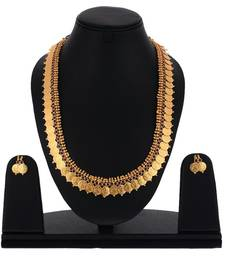 Buy Laxmi ji  gold plated traditional temple coin red stone long necklace set necklace-set online