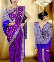 Buy Purple woven cotton poly nauvari-saree nauvari-saree online