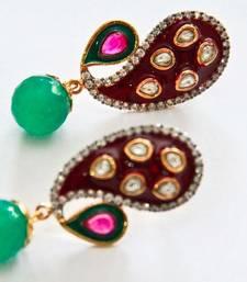 Buy Red & Green Pear & Drop Earrings danglers-drop online
