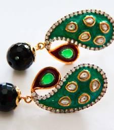 Buy Green & Black Pear & Drop Earrings danglers-drop online