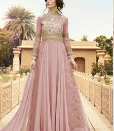 Buy pink embroidered georgette semi stitched salwar with dupatta indian-dress online