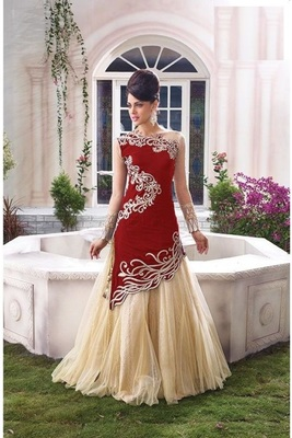 red embroidered gergotte semi stitched salwar