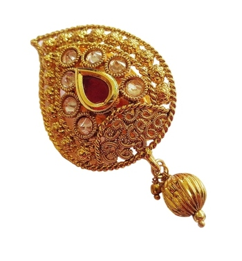 Maroon multi purpose ad zircon golden kundan saree pin brooch
