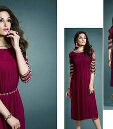 Buy Maroon embroidered georgette party-wear-kurtis party-wear-kurtis online