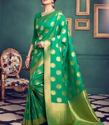 Buy Green woven kanchipuram silk saree with blouse wedding-season-sale online