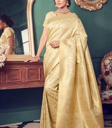 Buy Cream woven kanchipuram silk saree with blouse black-friday-deal-sale online