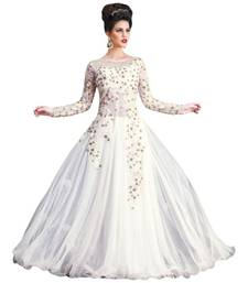 Buy Gown Women White Net Gown with Embroidery work Semi-Stitched Suit party-wear-gown online