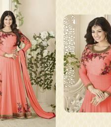 Buy Dark peach embroidered georgette semi stitched salwar with dupatta abaya-suit online