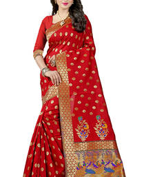 Buy Red woven paithani art silk saree with blouse paithani-saree online