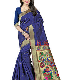 Buy Navy blue woven paithani art silk saree with blouse paithani-saree online