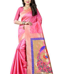Buy Light pink woven paithani art silk saree with blouse paithani-saree online