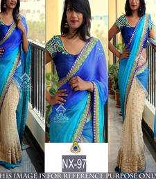 Buy Blue embroidered net saree with blouse net-saree online