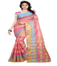 Buy Pink plain cotton saree with blouse cotton-saree online