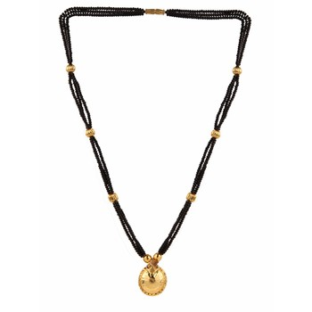traditional yellow gold wati design mangalsutra pendant for women