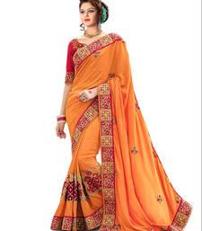 Buy Orange embroidered art silk saree with blouse art-silk-saree online