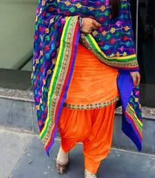 Buy Orange plain cotton semi stitched salwar with dupatta punjabi-suit online