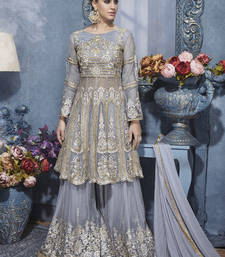 Buy Grey embroidered net semi stitched salwar with dupatta sharara online