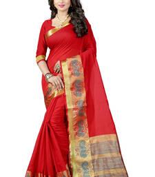 Buy Red woven poly cotton saree with blouse banarasi-saree online
