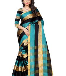 Buy turquoise embroidered art silk saree with blouse ikat-saree online