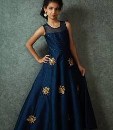 Buy White Button Girl's Latest Blue Banglori Silk Embroidery Patch Work ReadyMade Partywear Gown Dress kids-girl-gown online