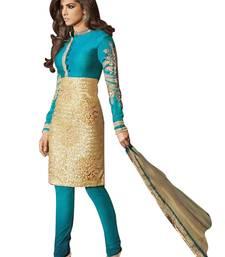 Buy Light blue embroidered brocade semi stitched salwar with dupatta party-wear-salwar-kameez online