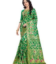 Buy Green woven banarasi silk saree with blouse banarasi-saree online