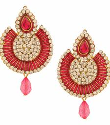 Buy Antique Gold Plated Pink Traditional Chandbali Earrings for Girls and Women danglers-drop online