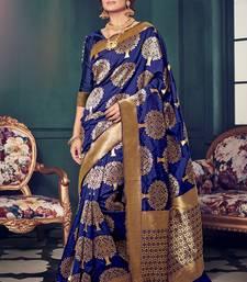 Buy Royal blue woven kanchipuram silk saree with blouse kanchipuram-silk-saree online