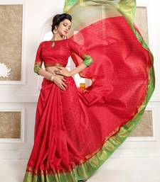 Buy Red woven banarasi silk saree with blouse black-friday-deal-sale online