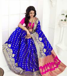 Buy Blue printed banarasi silk saree with blouse black-friday-deal-sale online