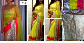 Indian Ethnic Replica Esha Lemon Georgette Saree
