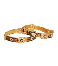 Buy Brown polki crystal bangles and bracelets bangles-and-bracelet online