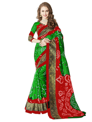 light green and red printed art silk saree with blouse