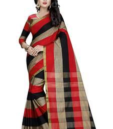 Buy Multicolor plain cotton saree with blouse cotton-saree online
