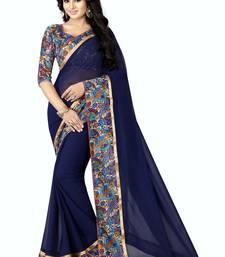 Buy Blue plain georgette saree with blouse georgette-saree online