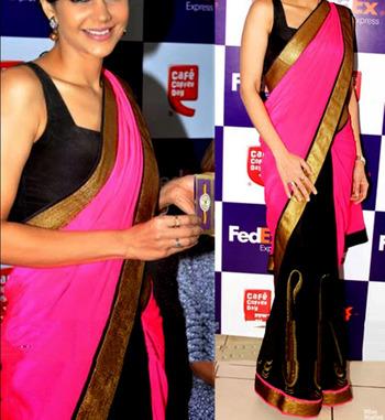 Indian Replica Ethnic Mandira Pink And Black Chiffon Saree