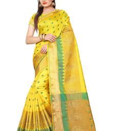 Buy Yellow plain cotton saree with blouse cotton-saree online