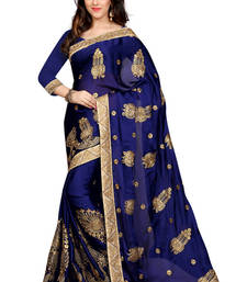 Buy Blue woven cotton poly saree with blouse cotton-saree online