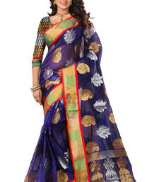 Buy Blue woven poly cotton saree with blouse cotton-saree online