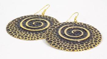 Golden Oxidized Round Disc Earring