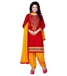 Buy red printed cotton unstitched salwar with dupatta punjabi-suit online