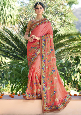 Salmon embroidered art silk saree with blouse