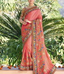 Buy Salmon embroidered art silk saree with blouse art-silk-saree online