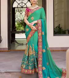 Buy Teal embroidered art silk saree with blouse art-silk-saree online