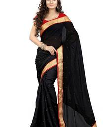 Buy Black plain georgette saree with blouse below-500 online